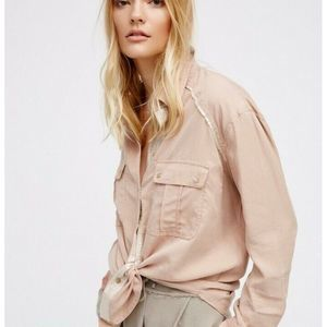 Free People Off Campus Button Down Hi-lo Shirt